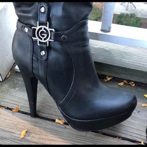 Guess Shoes - Black Faux Leather Knee High Boots by Guess